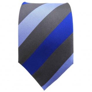TigerTie Designer Seidenkrawatte blau hellblau anthrazit gestreift - Vorschau 2