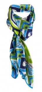 Halstuch petrol grün silber marine dunkelblau grau Satin gemustert - 95 x 95 cm
