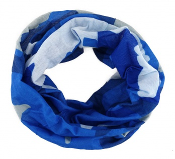 TigerTie Multifunktionstuch in blau grau weiss Läufer-Motiv - Tuch Schlauchtuch