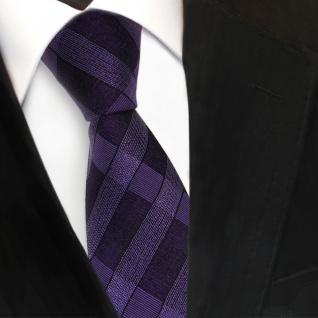 Designer Seidenkrawatte lila dunkellila schwarz kariert - Krawatte Seide Tie