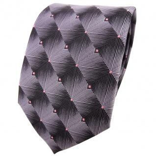 TigerTie Designer Krawatte grau silber rosa gepunktet - Schlips Binder Tie