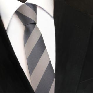 Schmale TigerTie Designer Krawatte - grau dunkelgrau hellgrau gestreift - Binder