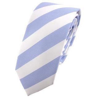 Schmale TigerTie Krawatte hellblau weiß gestreift - Schlips Binder Tie