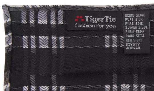 TigerTie Seideneinstecktuch in silber schwarz grau weiss kariert - 100% Seide - Vorschau 2