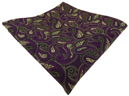 TigerTie Einstecktuch in lila gold grün schwarz Paisley gemustert - Gr. 25x25 cm