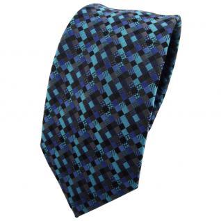 Schmale TigerTie Krawatte türkis blau schwarz anthrazit grau gemustert - Binder