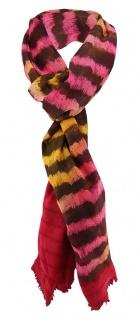 Chiffon Schal in rosa gelb dunkelbraun rot gestreift mit kleinen Fransen