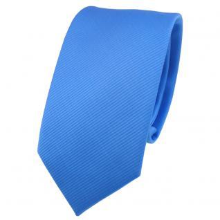 Schmale TigerTie Designer Krawatte blau himmelblau hellblau Uni Rips - Binder