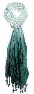TigerTie Schal in grün dunkelgrün weiß kariert mit Fransen - Gr. 180 x 50 cm
