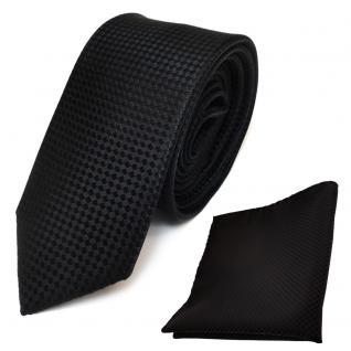 schmale Designer Seidenkrawatte + Einstecktuch in schwarz gepunktet - Krawatte