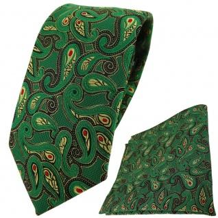 TigerTie Krawatte + Einstecktuch in grün gold rot schwarz Paisley