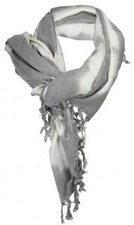 TigerTie Halstuch in grau weiß Batik Motiv mit Fransen - Tuch Gr. 100 x 100 cm