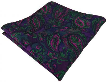 TigerTie Einstecktuch in lila grün marine pink mehrfarbig Paisley gemustert