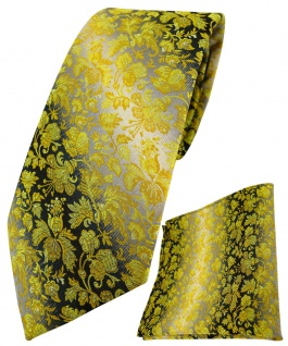 TigerTie Krawatte + Einstecktuch in gelb anthrazit grausilber geblümt gemustert