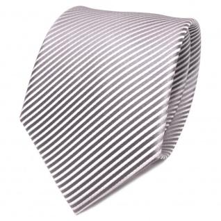 TigerTie Designer Seidenkrawatte grau silber gestreift - Krawatte Seide