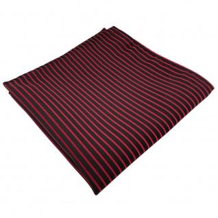 schönes Einstecktuch in rot signalrot schwarz gestreift - Tuch 100% Polyester