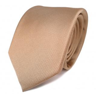 TigerTie Designer Seidenkrawatte gold Uni Rips - Krawatte 100% reine Seide