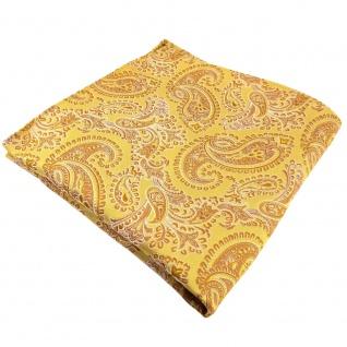 TigerTie Seideneinstecktuch gold gelbgold silber paisley gemustert - Seide