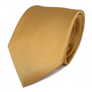 TigerTie Seidenkrawatte gold hellgold goldgelb Uni Rips - Krawatte Seide Tie