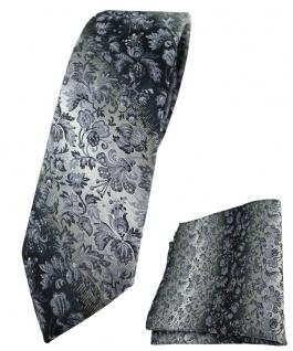 schmale TigerTie Krawatte + Einstecktuch in grau grausilber geblümt gemustert