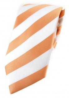 TigerTie Designer Krawatte in apricot weiss gestreift