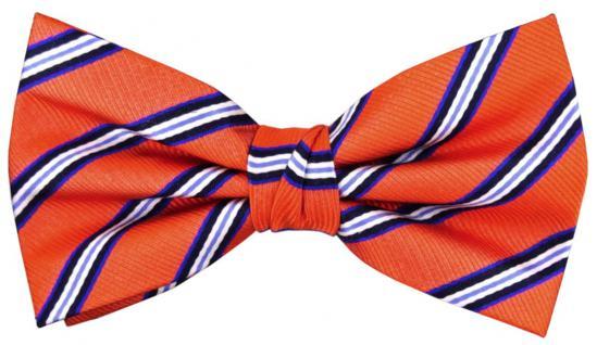 TigerTie Seidenfliege in orange blau silber schwarz gestreift - Fliege Seide
