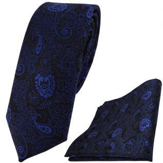 schmale TigerTie Krawatte + Einstecktuch in blau dunkelblau schwarz Paisley