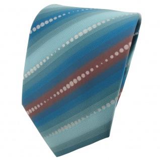 TigerTie Designer Krawatte türkisblau grau blassbraun gestreift - Tie Binder
