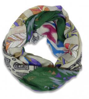 Lara & Anica limitierter Modal Azteken Loop Schal grün lila beige - Rundschal