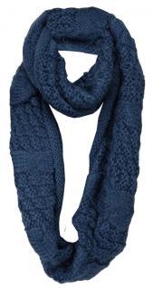 Loop Strickschal in dunkelblau einfarbig - Schal Größe 160 x 35 cm