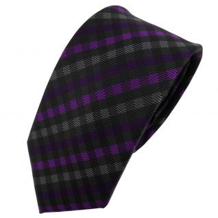 Schmale TigerTie Krawatte lila violett anthrazit schwarz kariert - Schlips Tie