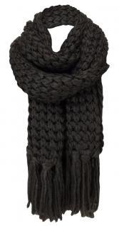 Strickschal in dunkelbraun einfarbig mit langen Fransen - Schal Gr. 220 x 30 cm