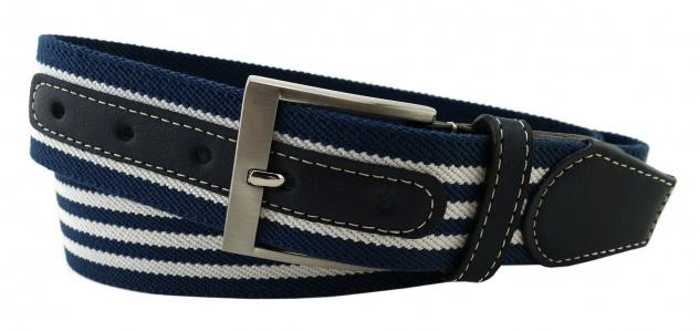 TigerTie - Stretchgürtel blau dunkelblau weiß gestreift - Bundweite 100 cm