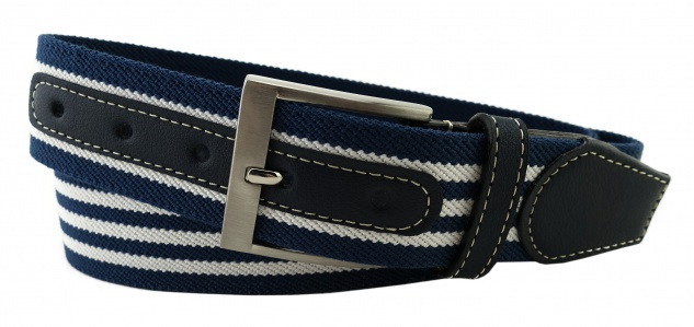 TigerTie - Stretchgürtel blau dunkelblau weiß gestreift - Bundweite 110 cm