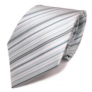 Mexx Seidenkrawatte grün mint türkis weiss schwarz gestreift - Krawatte Seide