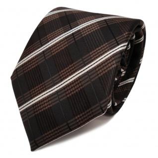 TigerTie Krawatte braun dunkelbraun creme schwarz gestreift - Schlips Binder Tie