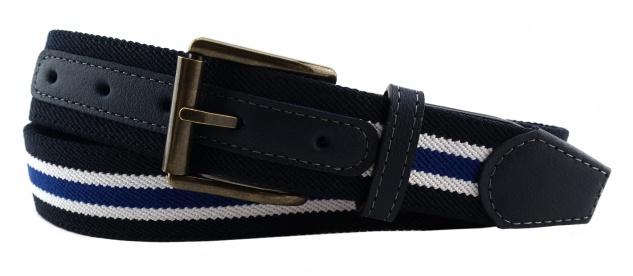 TigerTie - Stretchgürtel royal dunkelblau weiß gestreift - Bundweite 120 cm