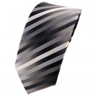 Schmale TigerTie Seidenkrawatte anthrazit silber grau gestreift - Krawatte Seide