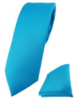 schmale TigerTie Designer Krawatte + Einstecktuch in türkisblau einfarbig uni