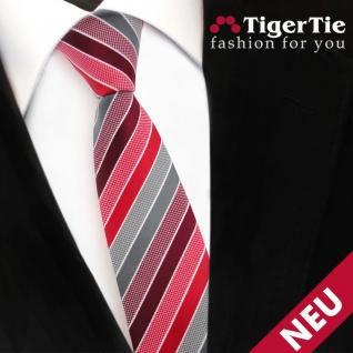 Schmale TigerTie Designer Krawatte rot bordeaux grau silber gestreift - Binder - Vorschau 3