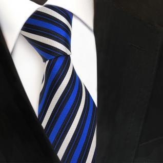 TigerTie Seidenkrawatte blau signalblau silber schwarz gestreift- Krawatte Seide