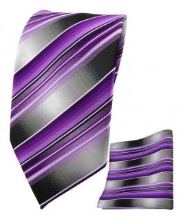 TigerTie Seidenkrawatte + Einstecktuch in lila flieder grau silber gestreift