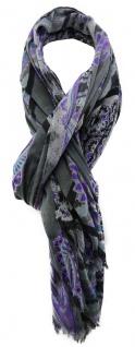 TigerTie Designer Schal in lila schwarz grau blau gemustert