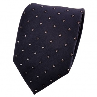 TigerTie Lurex Seidenkrawatte blau dunkelblau silber gepunktet - Krawatte Seide
