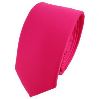 schmale TigerTie Krawatte pink knallpink neonfarben einfarbig uni - Binder Tie
