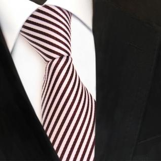 Designer Krawatte rot bordeaux weiss gestreift - Krawatte Tie Binder - Vorschau 1