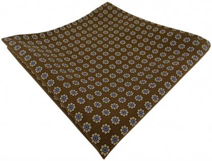 TigerTie handrolliertes Seideneinstecktuch in olive gold blau schwarz geblümt