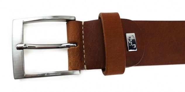 TigerTie - hochwertiger Ledergürtel braun - Bundweite 110 cm - 40 mm breit - Vorschau 4