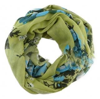 Chiffon Schal in hellgrün tannengrün weissgrau blau mit Blumenmotiven gemustert