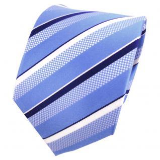 TigerTie Designer Seidenkrawatte blau silber weiß gestreift - Krawatte Seide - Vorschau 1